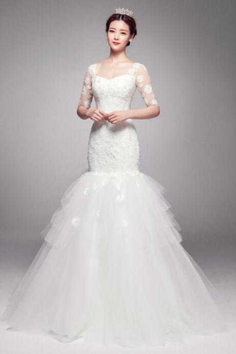 Mermaid Half Sleeves Tulle Lace Sweep Train Wedding Dresses Gowns