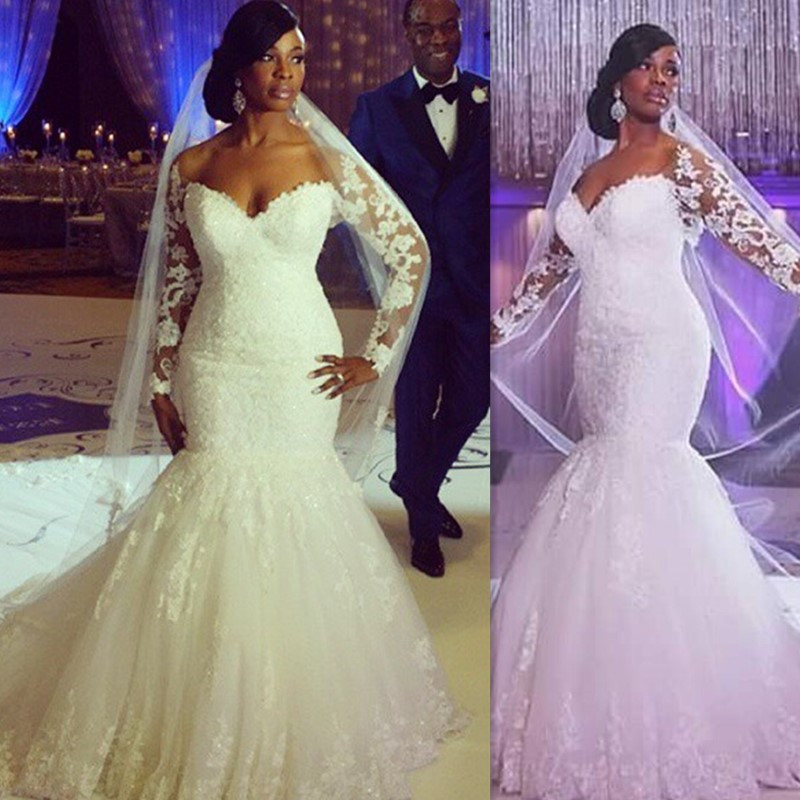 Plus size wedding dresses 2016 long sleeves lace v neck for Princess mermaid wedding dresses